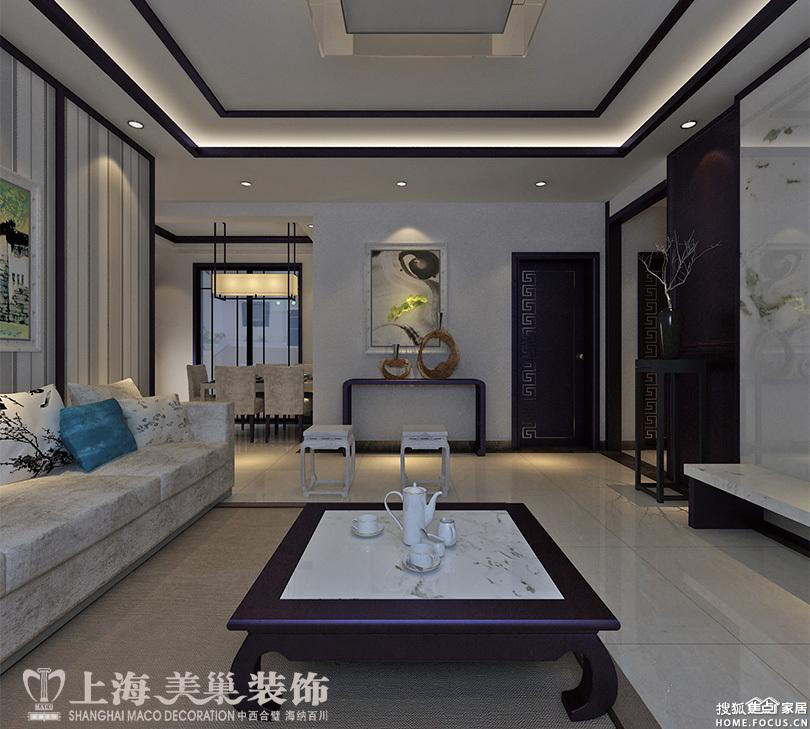 图:锦艺国际华都三室两厅新中式118平装修案例效果图图片