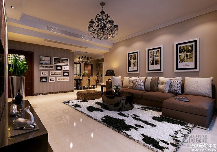 郑州润城三室两厅两卫140平方装修案例-客厅装修效果图高清图片