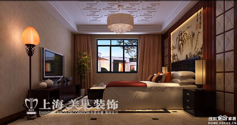 中原新城三室两厅新中式装修147平样板间效果图高清图片