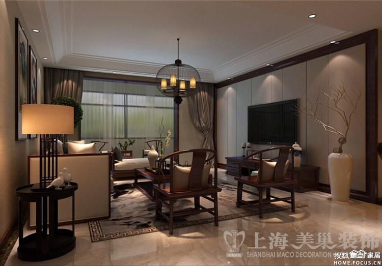 天骄华庭140平米三室两厅新中式风格装修案例 餐厅效果图高清图片