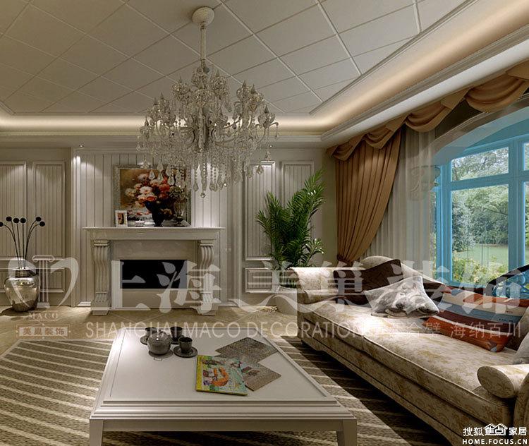 中原新城观澜120平装修三室两厅简欧效果图案例高清图片