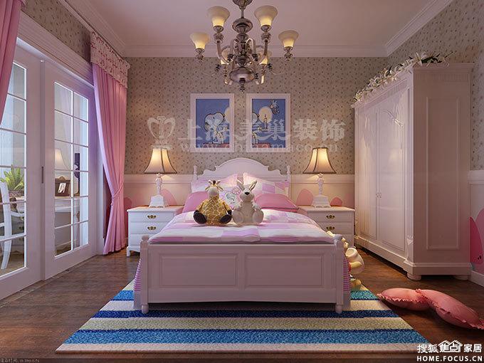 室两厅168平美式装修样板间效果图——女儿房效果图-昌建誉峰四室高清图片