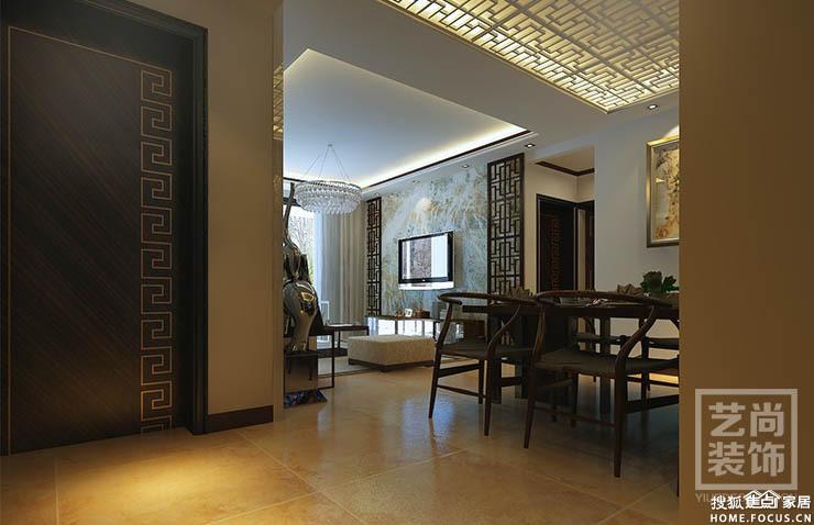 永威五月花城88平方3室2厅新中式装修效果图高清图片