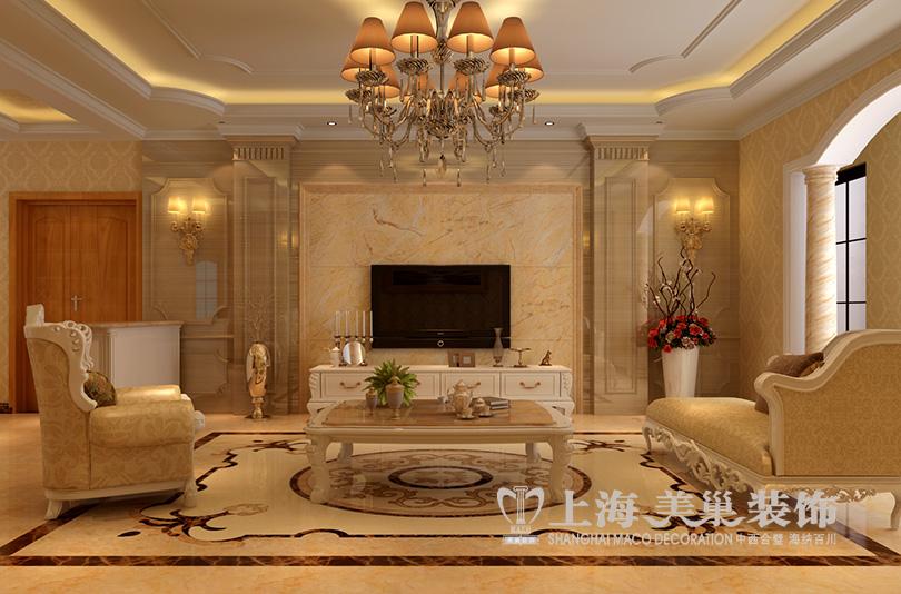 锦艺国际华都160平方三室两厅装修效果图——简欧风格图片