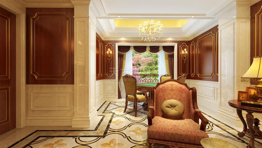本案风格欧式新古典,饰材配以米色莎安娜石材,红棕色樱桃木描金护墙