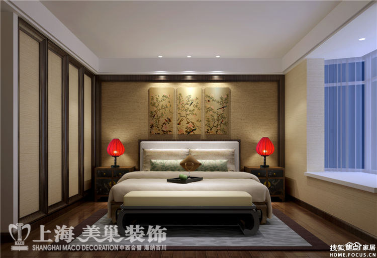 28平三室两厅新中式装修效果图高清图片
