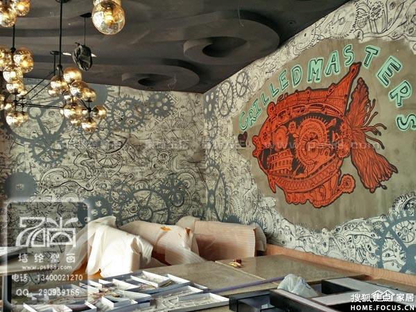 无锡品尚墙绘无锡主题餐厅墙绘涂鸦图片