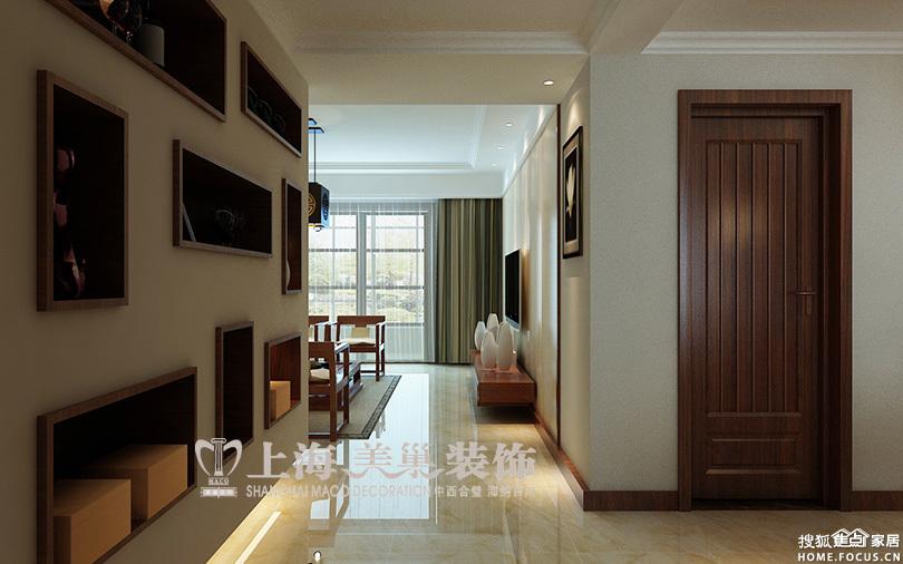 第一城北苑3室2厅新中式装修样板间案例——入户玄关效果图高清图片