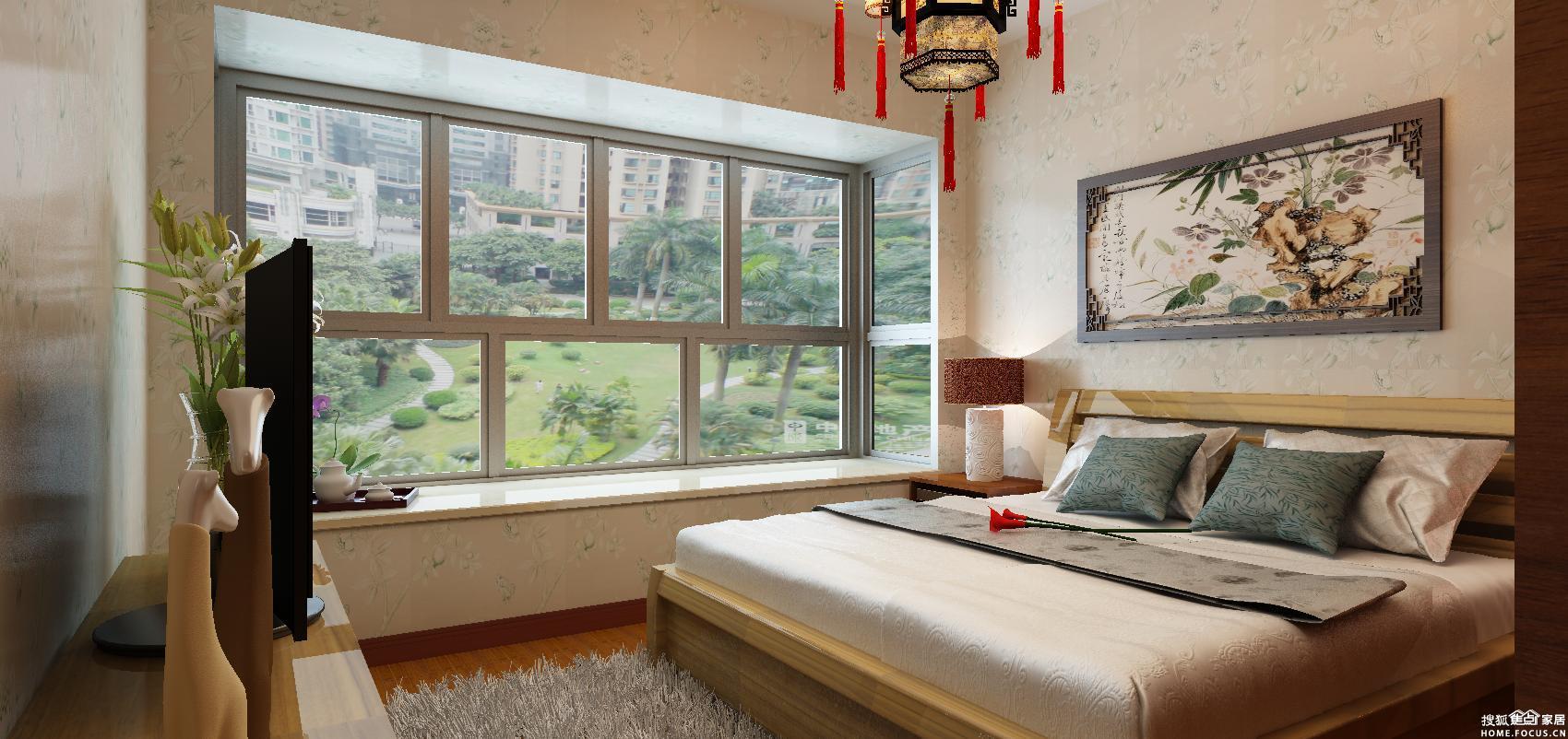 未来方舟126平米三房新中式豪华整装装修案例,为你诠释古典与现代高清图片