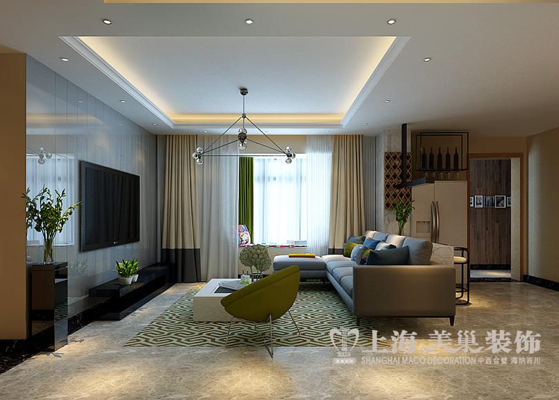 维也纳森林15#120平三居室装修北欧惬意效果图——客厅全景
