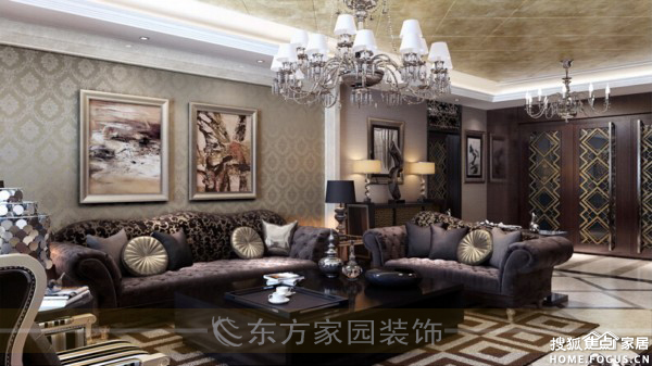 东海西路 别墅二手房室内装修设计效果图方案 新古典风格高雅庄重高清图片