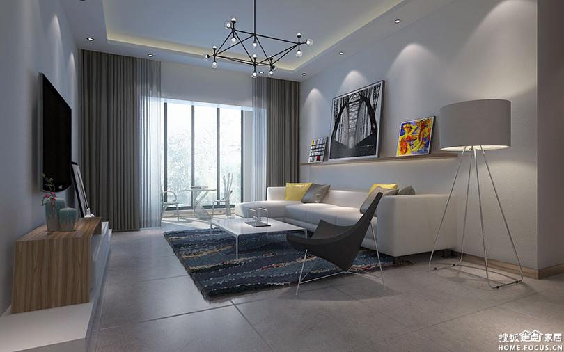 空港新城88平现代简约两室两厅装修效果图--卧室,清新、高雅、舒适-高清图片
