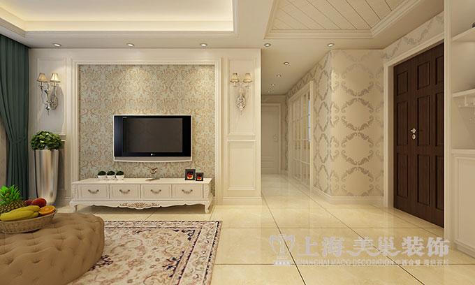 中投汇金城86平装修之简欧线条两室两厅效果图——电视背景墙图片