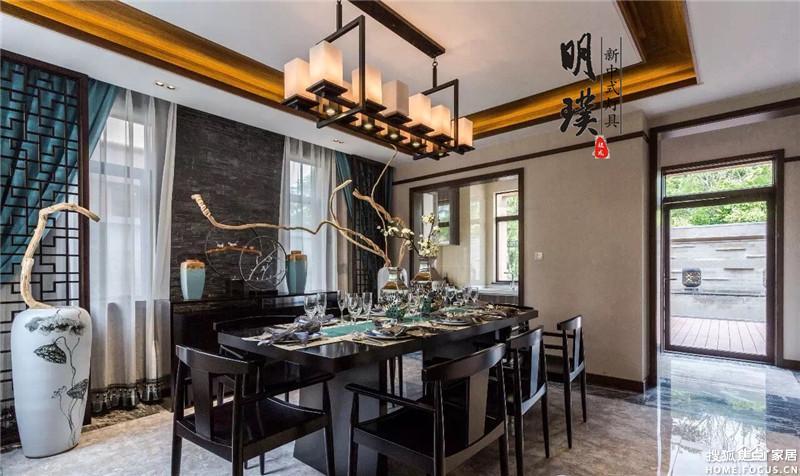 别墅新中式风格装修搭配明璞新中式灯具,典雅韵味高清图片