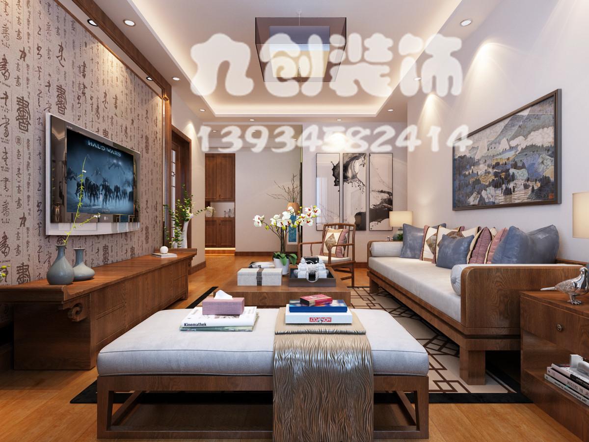 太原装修 新房装修 富力桃园93平米三居新中式风格客厅装修效果图-太