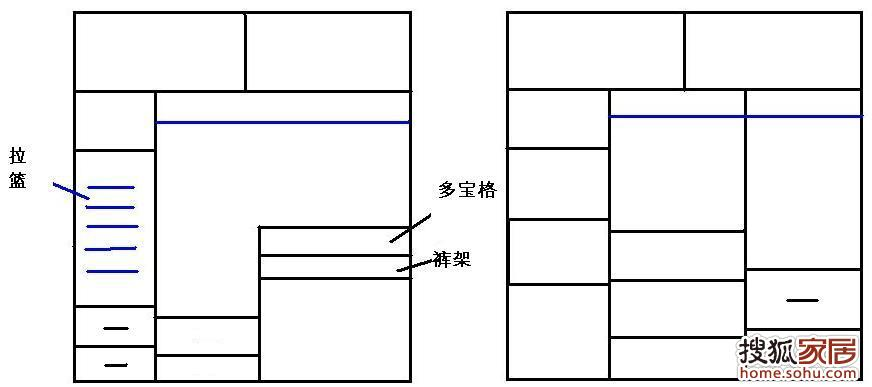 推拉扇式衣柜設計圖展示圖片
