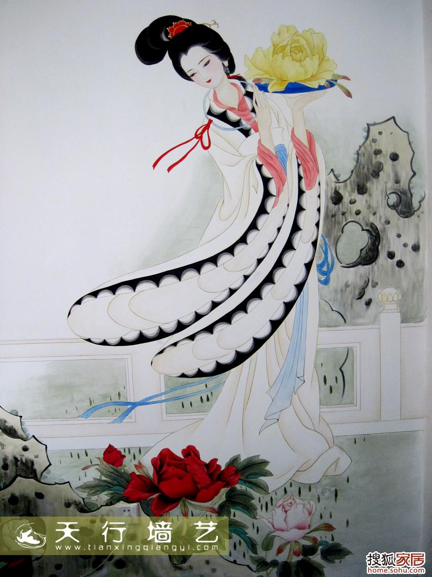 图片:超漂亮的西施手绘壁画,不看别后悔了,开花了