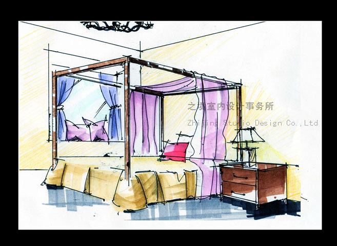 主卧室手绘图