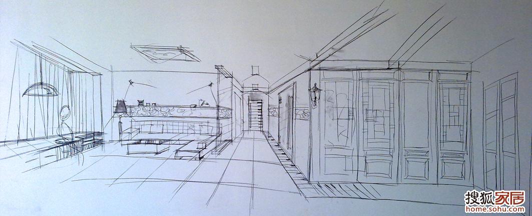 室内手绘单个家具手稿