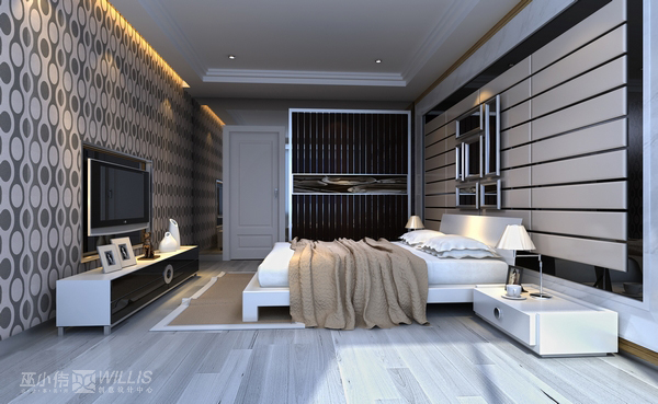 卧室墙面黑白手绘