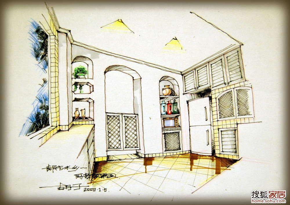 图:漂亮的橱柜手绘效果图