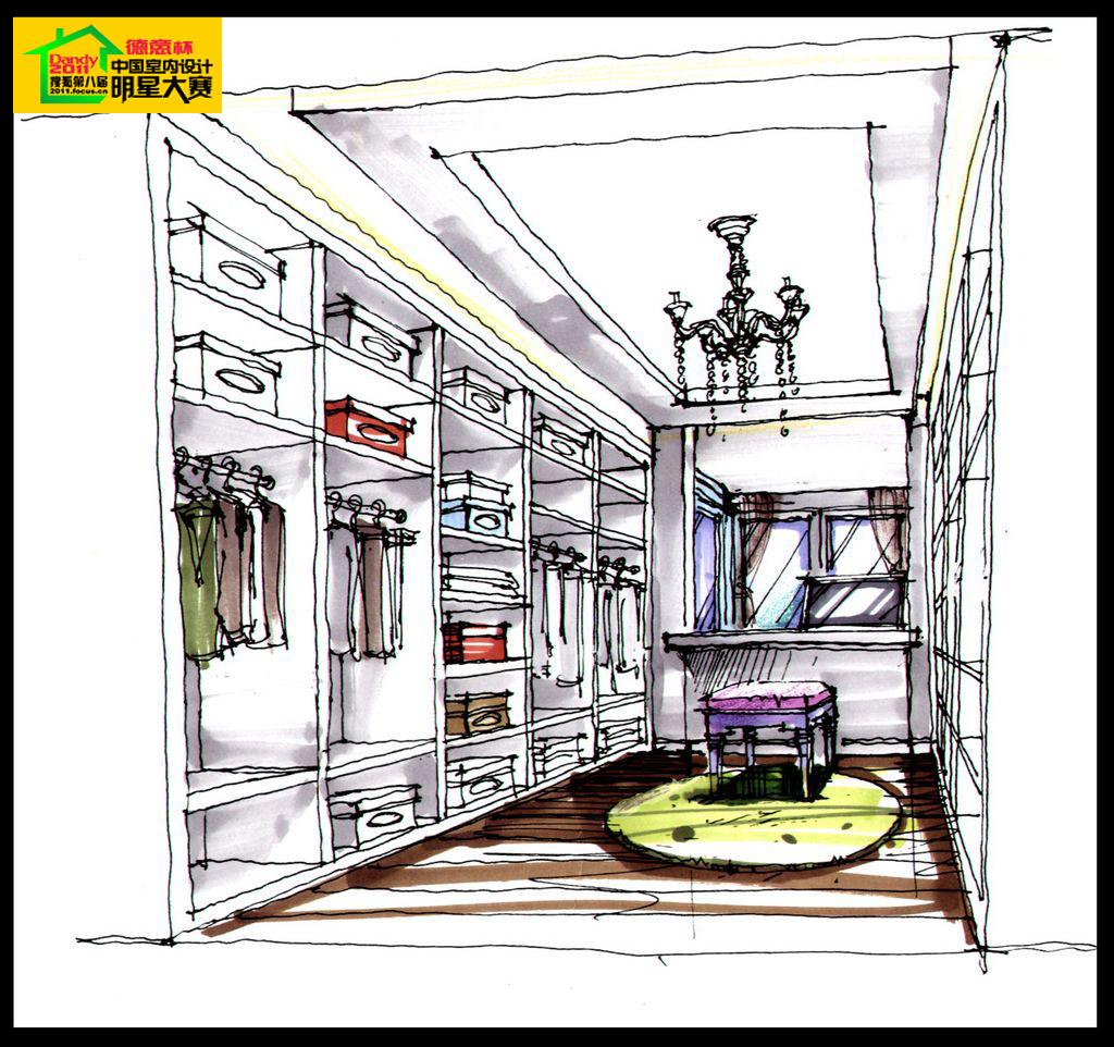欧式主卧室一点透视手绘