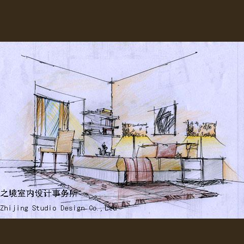 主卧室手绘表现图