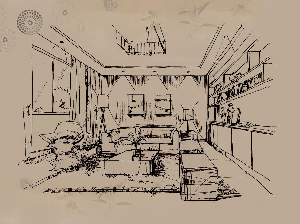 客厅单体手绘线稿