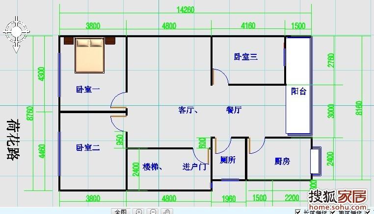 设计图_农村两室一厅设计图  三房二厅一卫户型 平面效果图psd源文件