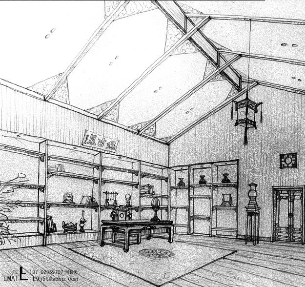 中式手绘书房透视图
