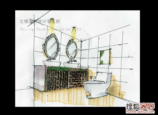 卫生间手绘图-装饰设计论坛-搜狐家居网