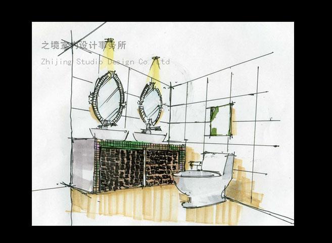 室内卫生间立面手绘图