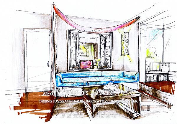 客厅沙发角度手绘效果图