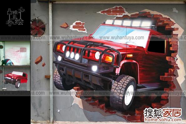 悍马手绘墙作品 空间具有不同风格的墙体彩绘 并不局限于