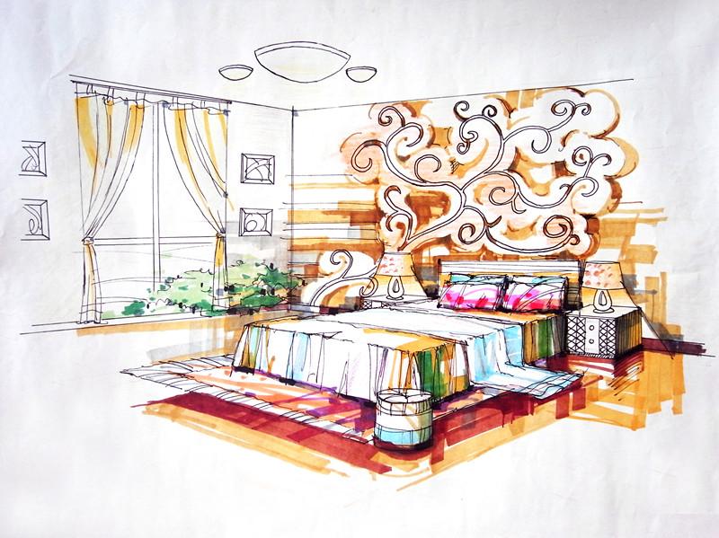 时尚快餐厅手绘图