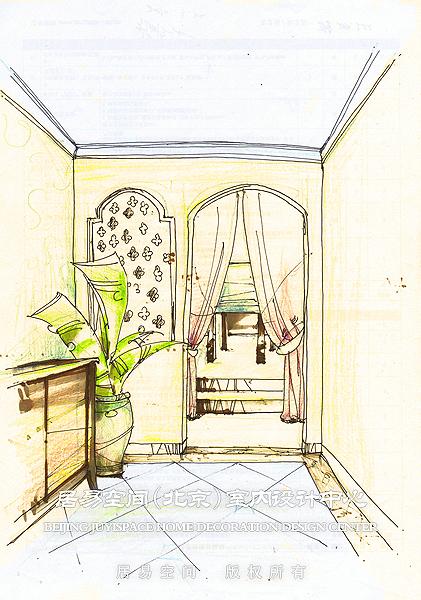 玄关室内笔手绘图