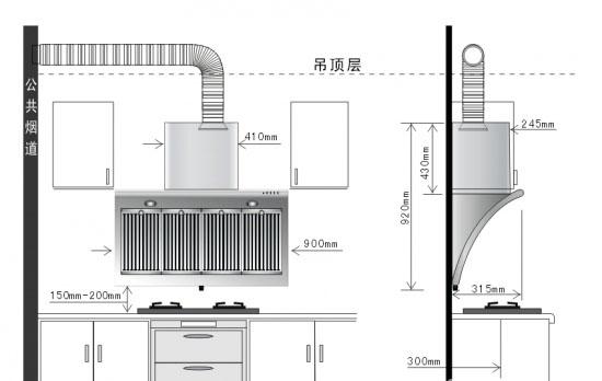 15米处 b,欧式烟机——插座放在烟机围板两侧距地2.图片
