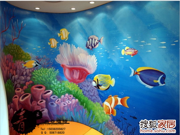 """""""海洋馆""""个性休息区手绘海底世界海洋馆壁画:;;"""