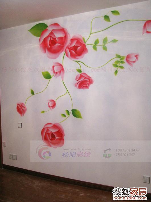 苏州手绘墙 卧室手绘玫瑰花1