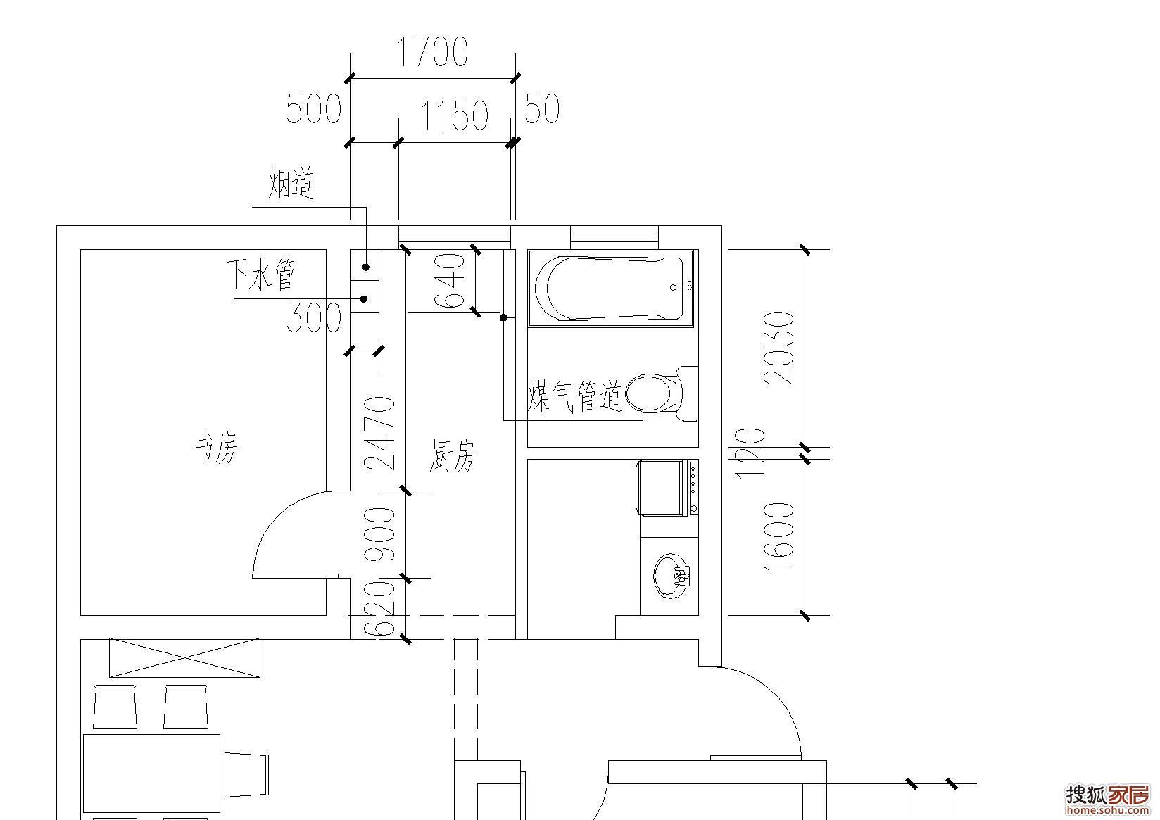 厨房的平面图