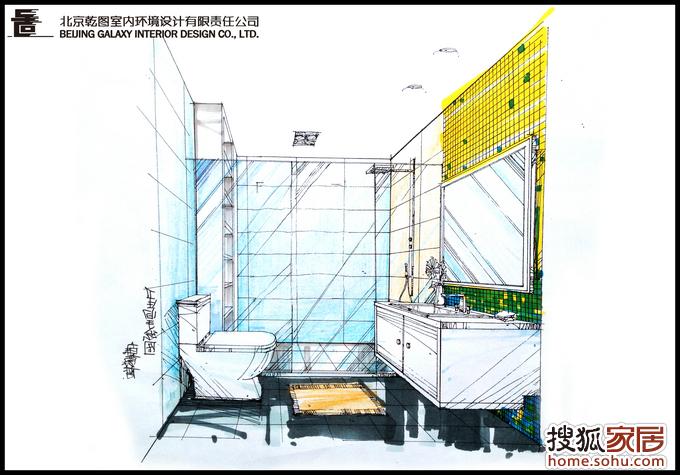 卫生间一点透视图线稿