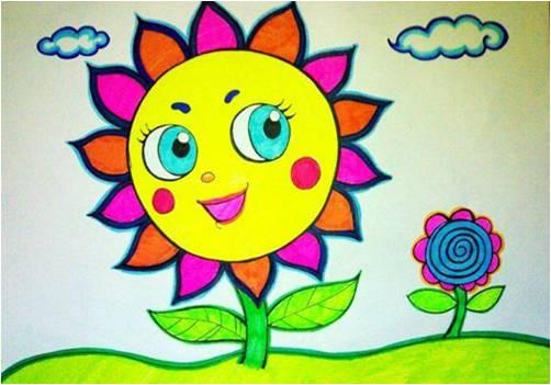 儿童画画大全-美丽的向日葵;