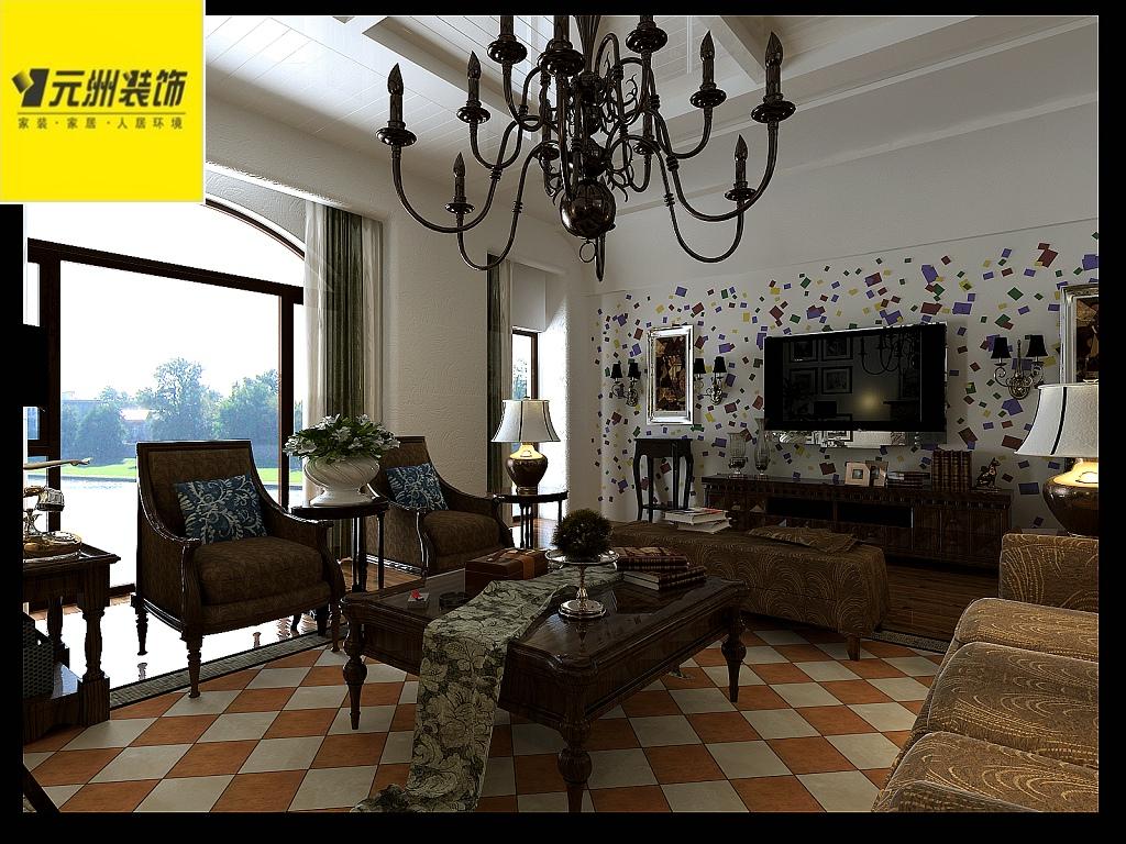 香溪庭院220平米别墅美式风格装修效果图 高清图片