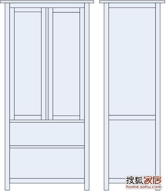 两门衣柜结构图-万左右,这其中橱柜以及几乎所有家具均为柏辉橱柜