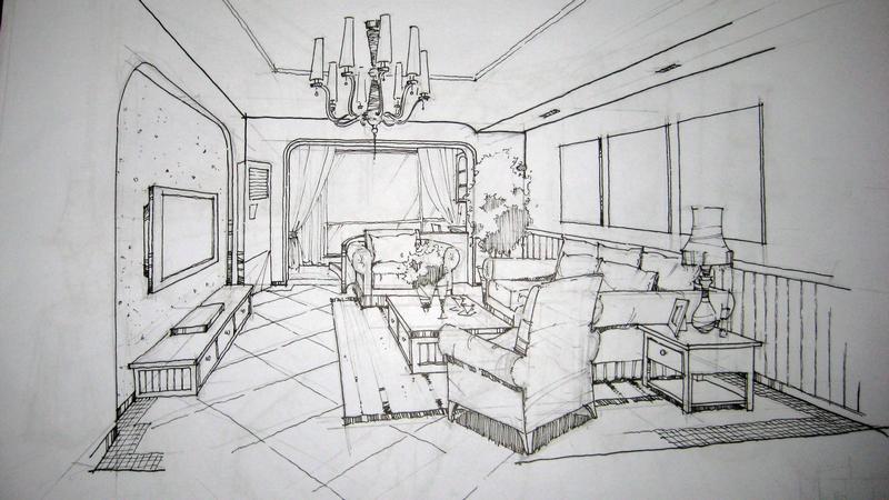 室内手绘图柜子