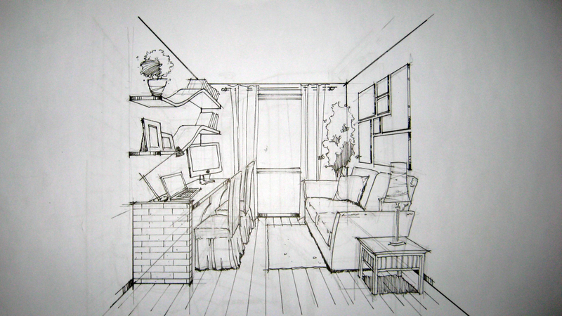 房间室内手绘图