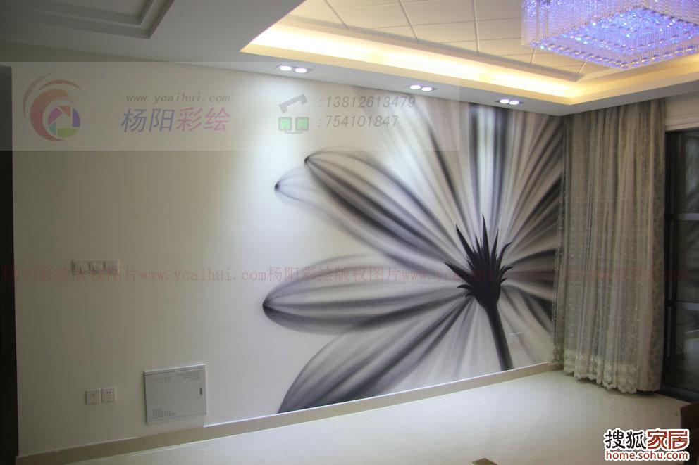 """现代风格手绘墙-常熟""""东湖京华""""客厅沙发背景黑白风格彩绘-扶郎花"""