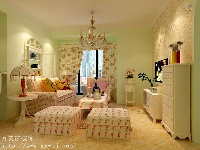罗那117平米三房两厅装修案例 小清新田园风格装修设计效果图参考高清图片