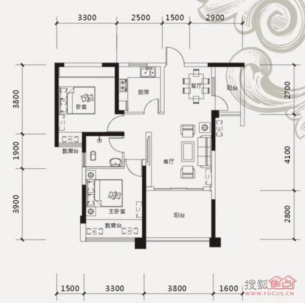 山语城86平米两室两厅户型图高清图片
