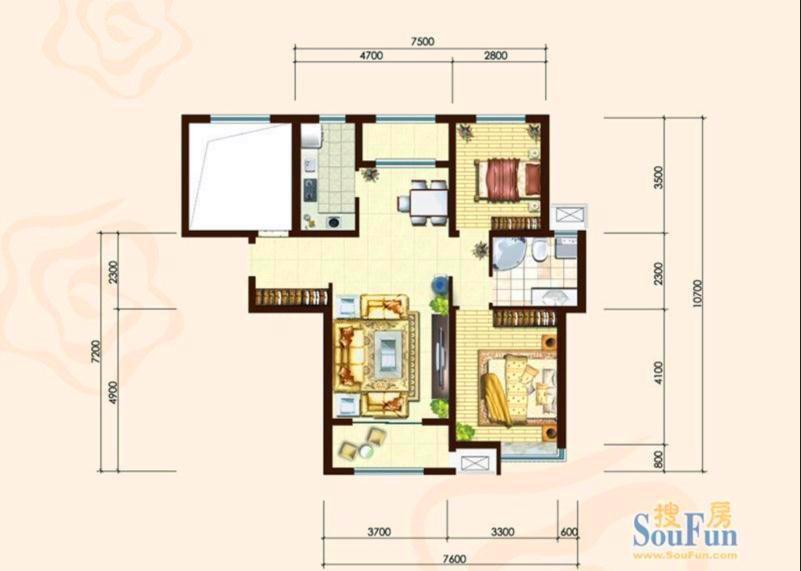我家房子户型图-保利玫瑰湾20楼99平 装饰设计